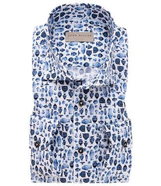 John Miller wit met delfts blauwe vazen print