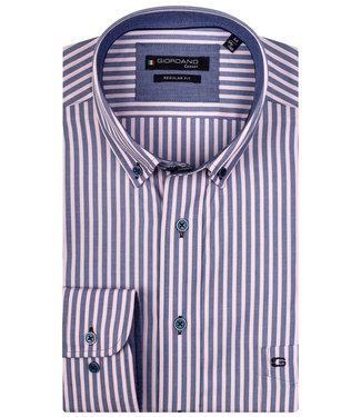 Giordano Regular Fit blauw-roze streep