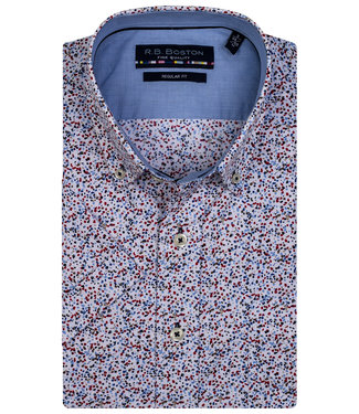 Giordano Regular Fit wit donkerblauw-bordeaux rood-lichtblauw print