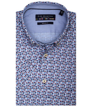 Giordano Regular Fit lichtblauw oxford grafische print