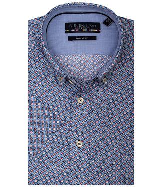 Giordano Regular Fit blauw met rood-donkerblauw-beige vierkantjes print