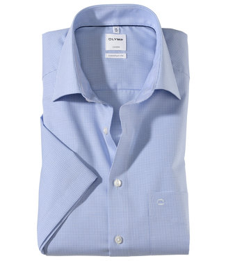 Olymp lichtblauw-wit ruitje strijkvrij
