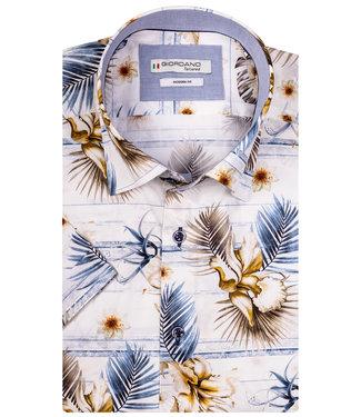 Giordano Tailored blauw bruin bloemen en planten print