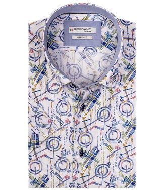 Giordano Tailored wit met grafische bruin-blauw-groen print