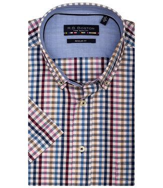 Giordano Regular Fit wit met beige-donkerblauw-kobaltblauw-rood ruitje