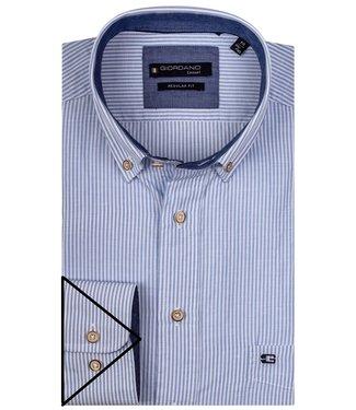 Giordano Regular Fit lichtblauw-wit fijn streepje