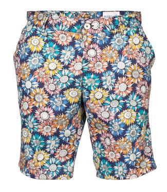 Giordano Blue korte broek tutti colori zonnebloem print
