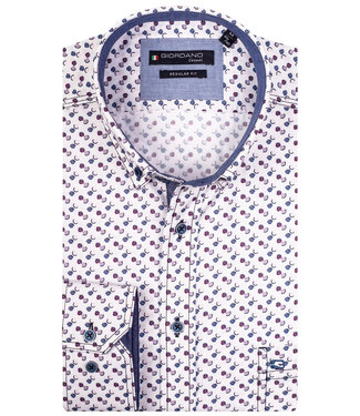 Giordano Regular Fit wit met donkerblauw-lila-paars print