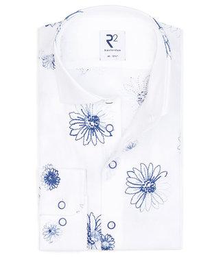 R2 Amsterdam wit blauw geborduurde bloemenprint