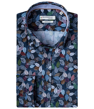 Giordano Tailored donkerblauw tutti colori blaadjes print