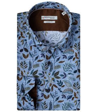 Giordano Tailored blauw met donkerblauw bruin groen blaadjes print