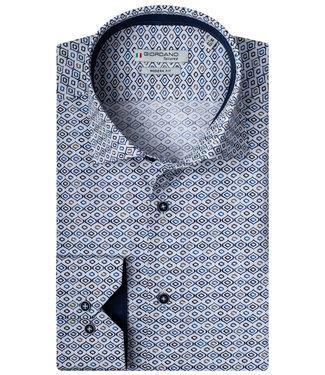 Giordano Tailored wit donkerblauw bruin blauw grafische print