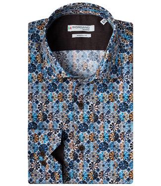 Giordano Tailored blauw bruin grafische print