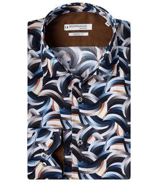 Giordano Tailored zwart wit-beige-blauw grafische wave print