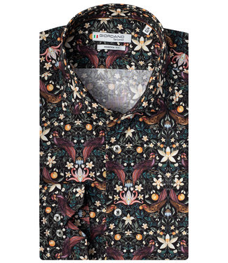 Giordano Tailored zwart sinasappel vogel liberty print