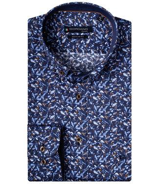Giordano Regular Fit donkerblauw lichtblauw-bruin speciale bloemenprint