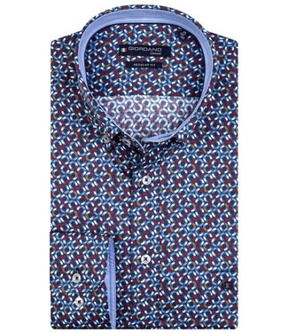 Giordano Regular Fit donkerblauw wit-lichtblauw-bruin-rood rondjes print