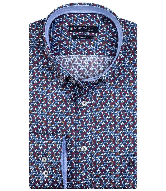 Giordano Regular Fit donkerblauw wit-lichtblauw-bruin-rood rondjes print