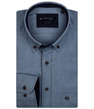 Giordano Regular Fit blauw grijs flanel twill