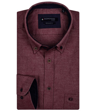 Giordano Regular Fit bordeaux rood flanel twill