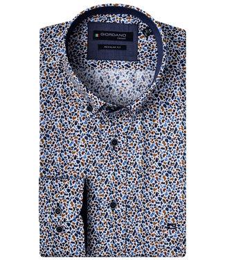 Giordano Regular Fit wit donkerblauw-donkerbruin-brique-lichtblauw print