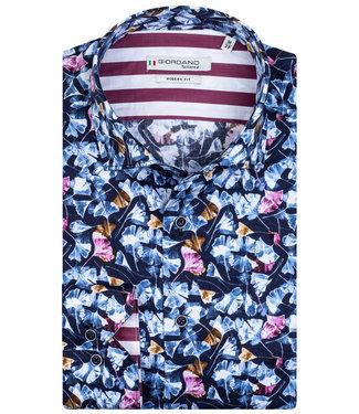 Giordano Tailored donkerblauw lichtbruin-bruin-roze bloemenprint