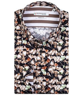 Giordano Tailored zwart bruin-wit-brique-groen bloemenprint