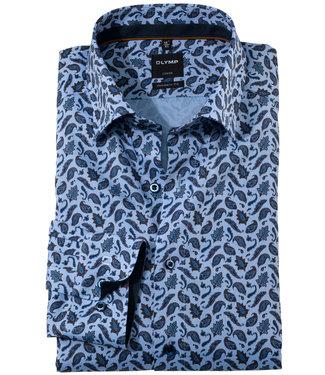Olymp lichtblauw donkerblauw bruin paisley print