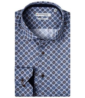 Giordano Tailored blauw met bruin blauw grafische print