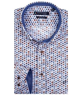 Giordano Regular Fit speciale print donkerblauw-blauw-bruin