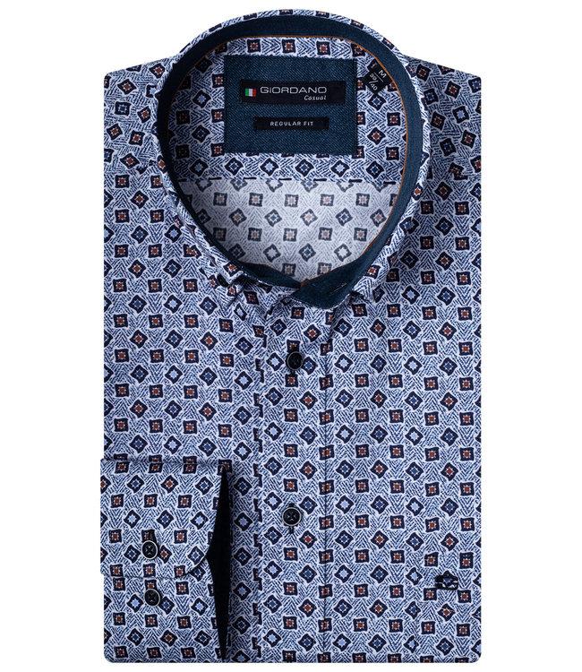 Giordano Regular Fit blauw met donkerblauw-brique-wit-kobaltblauw print