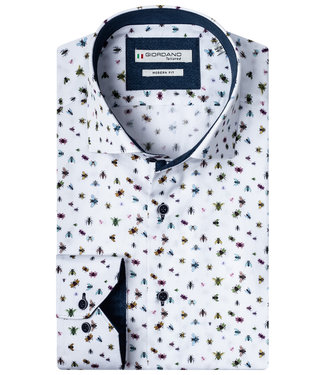 Giordano Tailored overhemd wit met tutti colori insecten print