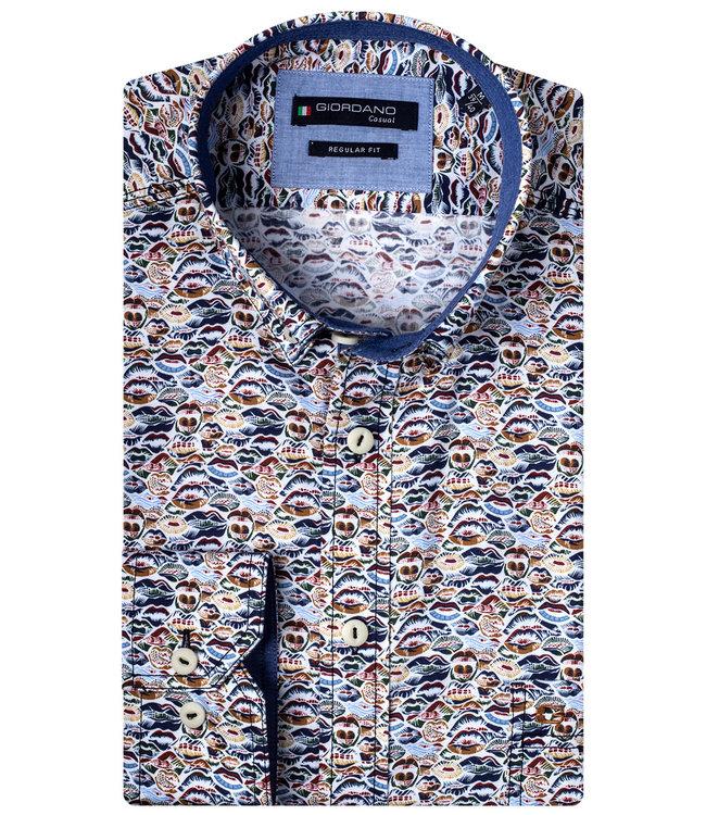 Giordano Regular Fit wit beige-bruin-donkerblauw-lichtblauw mondjes print