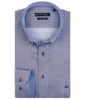 Giordano Regular Fit wit met donkerblauw-brique print