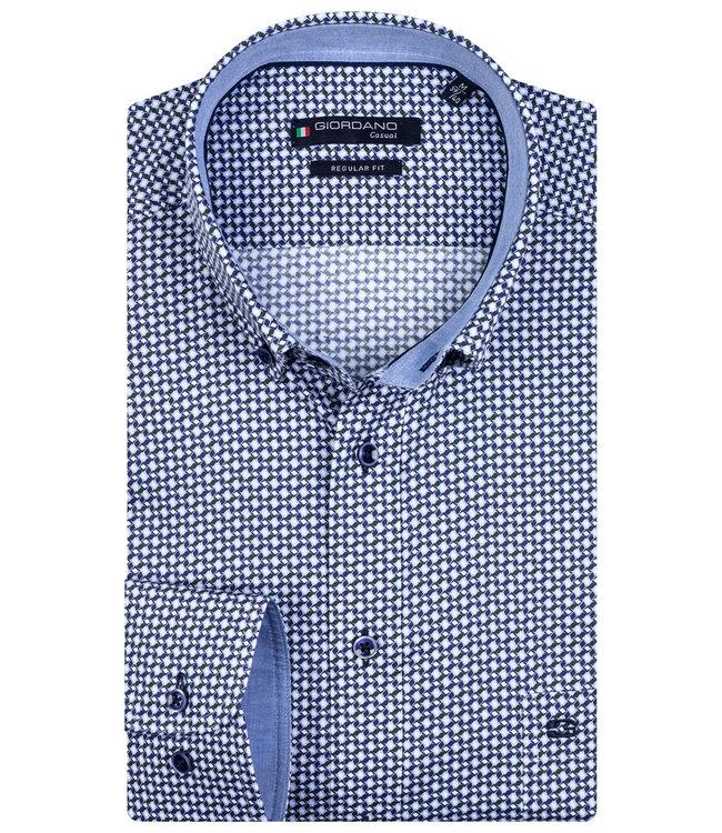 Giordano Regular Fit wit met donkerblauw-donkergroen print