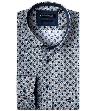 Giordano Regular Fit groen donkerblauw-brique-wit-kobaltblauw print