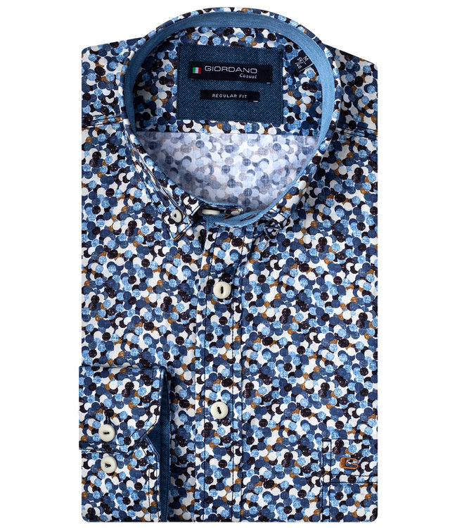 Giordano Regular Fit donkerblauw-wit-bruin rondjes print