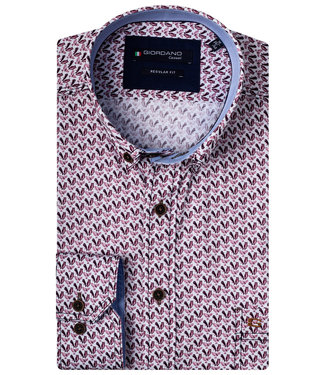 Giordano Regular Fit aubergine vogel print