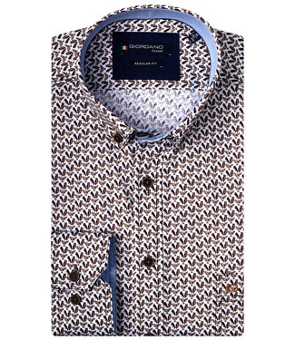 Giordano Regular Fit bruin vogel print