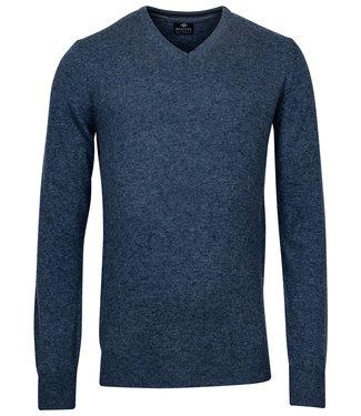 Baileys blauw melee v-hals heren trui