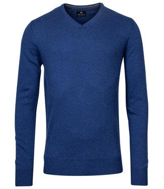 Baileys kobaltblauw melee v-hals heren trui