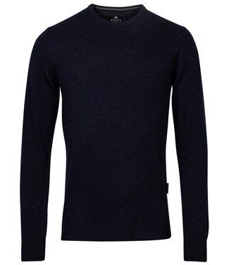 Baileys donkerblauw melee ronde hals heren trui