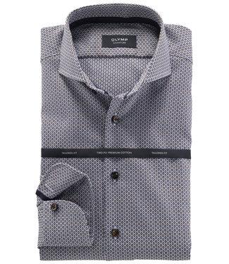 Olymp signature strijkvrij overhemd donkerblauw bruin structuur