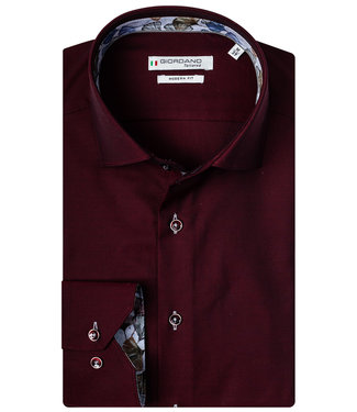 Giordano Tailored bordeaux rood print contrast