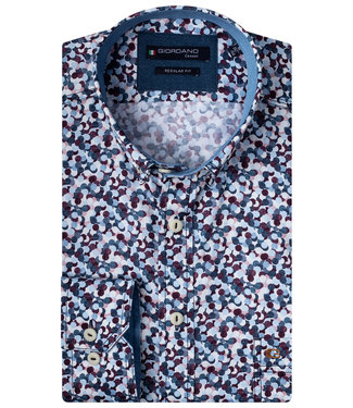 Giordano Regular Fit donkerblauw-wit-bordeaux rondjes print