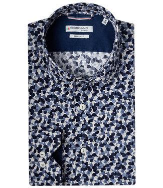 Giordano Tailored donkerblauw-lavendelblauw-ecru grafische print