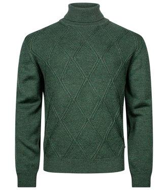Baileys coltrui Pullover groen structuur Roll Neck