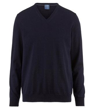 Olymp donkerblauw v-hals trui merino wol
