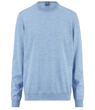 Olymp lichtblauw ronde hals trui merino wol