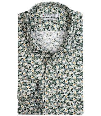 Giordano Tailored heren overhemd groen tinten met wit bloemenprint